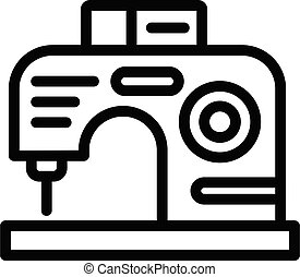 Modern sewing machine icon, outline style
