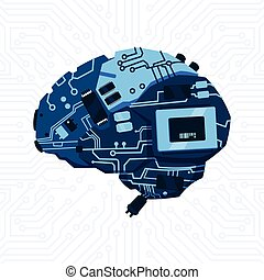 Modern Shape Of Brain Mechanism Over Circuit Motherboard...