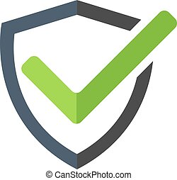 Modern shield icon, mark approved , protect, safe vector symbol