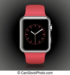 Modern shiny smart watch with red sport band