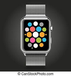 Modern shiny smart watch with steel chain bracelet and applications icons on dial screen