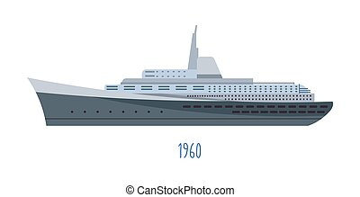 Modern ship, vessel for shipping or passengers transportation