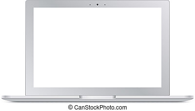 Modern silver laptop with blank screen