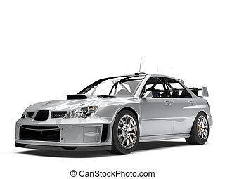 Modern silver metallic touring race car - beauty shot