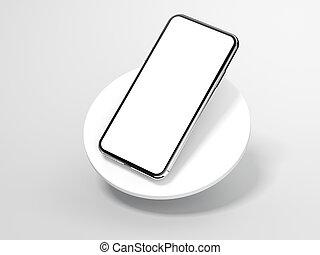 Modern silver smartphone. 3d rendering - Modern silver...
