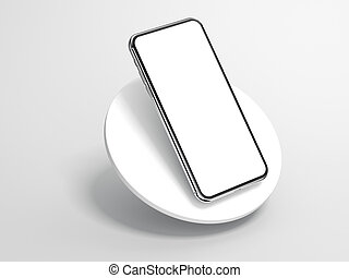 Modern silver smartphone isolated on cylinder. 3d rendering