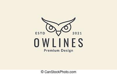 modern simple night animal owl eyes line logo symbol icon vector graphic design illustration