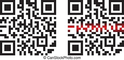 Modern Simple QR Code with Laser Beams in Vector Illustration