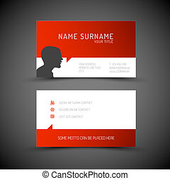 Modern simple red business card template with user profile