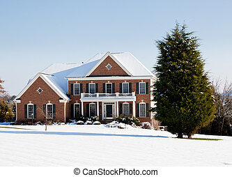 Modern single family home in snow - Modern home in a snowy...