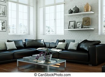 modern skandinavian interior design living room with black leather couch