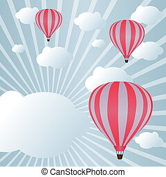 Modern sky background - Background with hot air balloons...