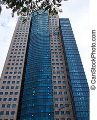 Modern skyscraper in low angle view