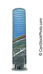 Modern skyscraper made of glass, a reflection of the city and sky. 3d illustration