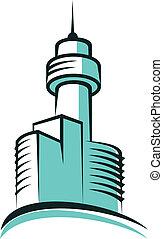 Modern skyscraper symbol with high tower