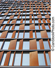 Modern skyscraper with windows standing in Polish city Lodz