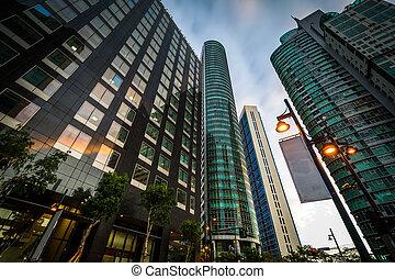 Modern skyscrapers at Bonifacio Global City at sunset, in Taguig, Metro Manila, The Philippines.