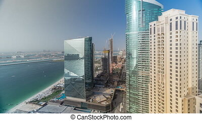 Modern skyscrapers in Jumeirah beach residence in Dubai, JBR...