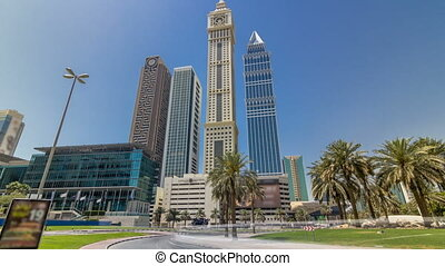 Modern skyscrapers of the skyline along the business center of Sheikh Zayed Road timelapse hyperlapse in Dubai, UAE