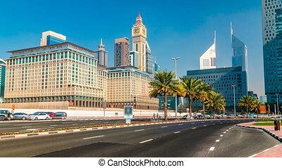 Modern skyscrapers timelapse, Sheikh zayed road, Dubai,...