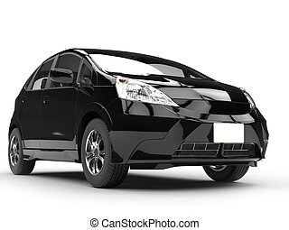 Modern small black compact car - closeup shot