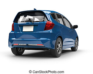 Modern small blue compact car - rear view