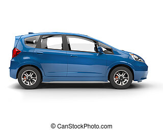 Modern small blue compact car - side view