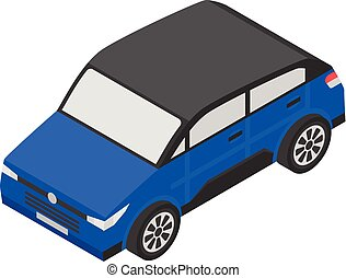 Modern small car icon, isometric style