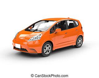 Modern small orange compact car