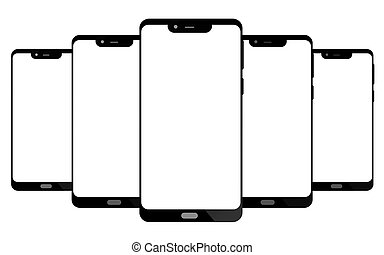 Modern smart phone isolated on white