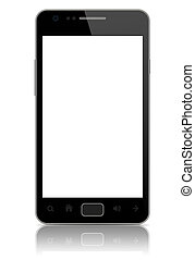 Modern smart phone with blank screen isolated on white. ...