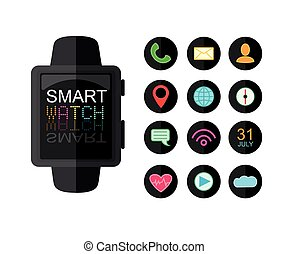 Modern Smart Watch. Set Of App Icons for Interface. Flat Style. Vector Illustration Isolated On White Background.