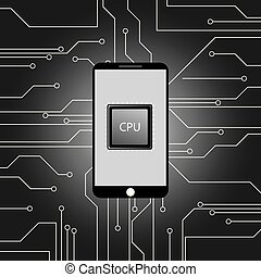 Modern smartphone and Main microprocessor,chip...