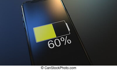Modern smartphone battery charge dropping fast. Realistic 3D animation