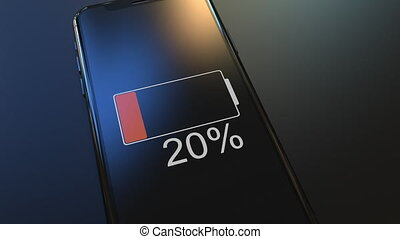 Modern smartphone battery charging. Realistic 3D animation