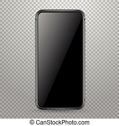 Modern smartphone vector mockup isolated on transparent. Place any content into the screen
