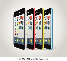 modern, smartphone, verschieden, farben