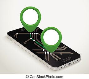 Modern smartphone with abstract metro map. Dark mobile phone...