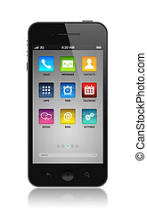 Modern smartphone with application icons on a screen....