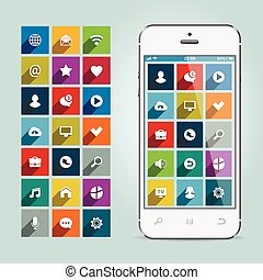 Modern smartphone with apps icons on soft background