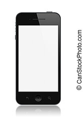 Modern smartphone with blank screen isolated on white.