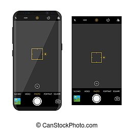 Modern smartphone with camera application. User interface of...