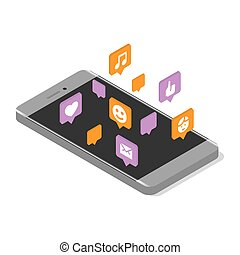 Modern smartphone with cloud of social media speech bubbles. Isometric vector illustration.