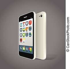 Modern smartphone with different color icons. Design elements
