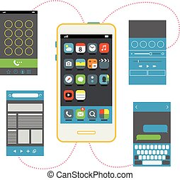 Modern smartphone with different interface elements