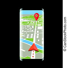 Modern smartphone with navigation application