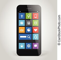 Modern smartphone with tile interface color icons. Design elemen