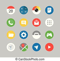 Modern smartphones ui kit. Different application icons...
