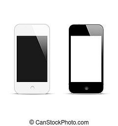 Modern smartphones with blank screen