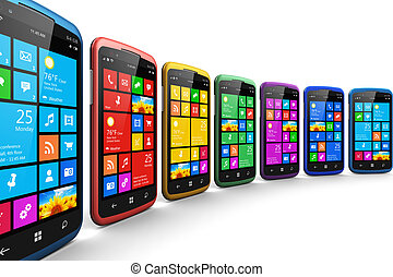 Modern smartphones with touchscreen interface - Mobility and...